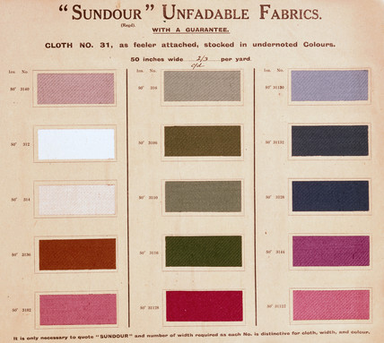 Sundour unfadable fabrics, early 20th century.