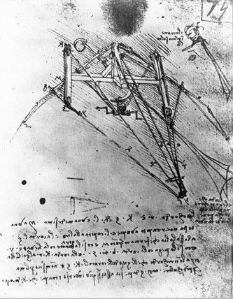 Design for flying machine with rudder section by Leonardo da Vinci, c 1500.