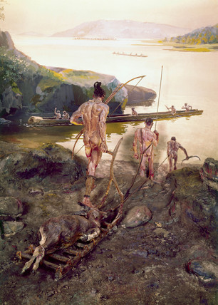 Group of Neolithic men hunting with bows and arrows.