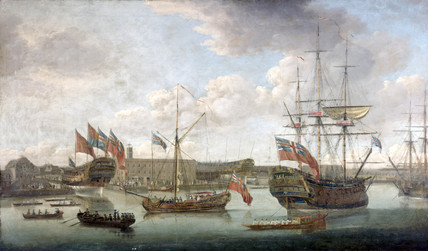 'Launch at Deptford Dockyard', c 1750.