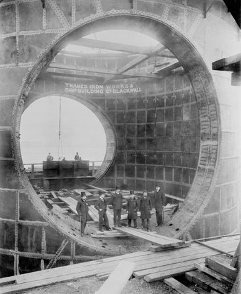 Construction of the Blackwall Tunnel, London, c 1895.