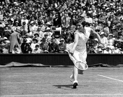 Tennis player Mrs Sperling in action at Wimbledon, 1935.