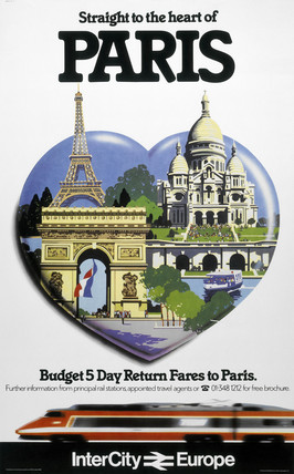 'Straight to the Heart of Paris', BR poster, c 1980s.
