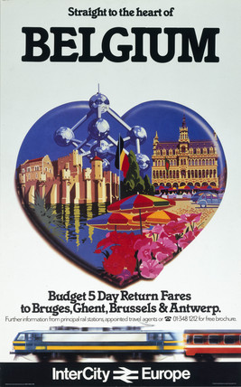 'Straight to the heart of Belgium', British Rail poster, c 1980s.