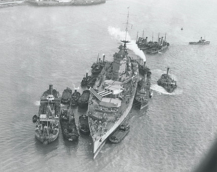aerial view of HMS 'Nelson', Portsmouth, 11 January 1934.