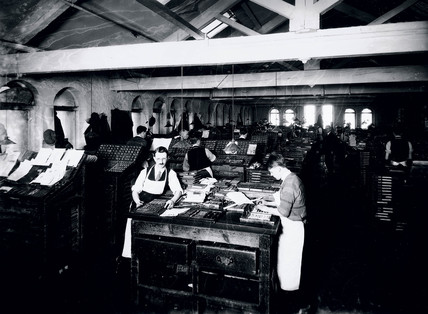 Printing works in Frome, Somerset, 1929.