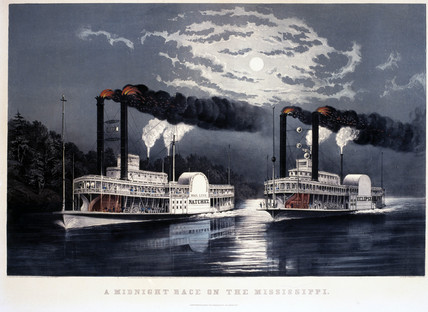 'A Midnight Race on the Misisippi', United States, 1860.