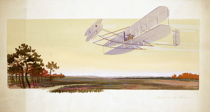 Wright biplane above the camp of Auvours, Belgium, 1908.