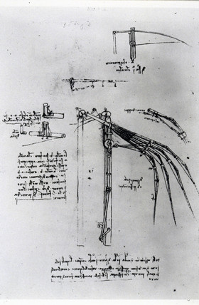 Design by Leonardo da Vinci for the wing of an ornithopter, c 1490.