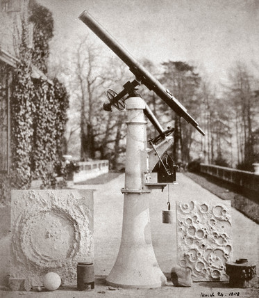 Nasmyth's reflecting telescope and two models of the lunar surface, 1866.