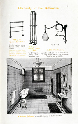 'Electricity in the Bathroom', c 1890s.