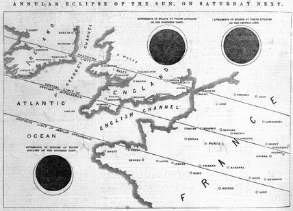 Map charting the predicted path of a solar eclipse, 1847.