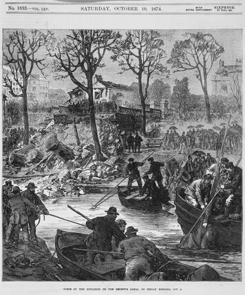 'Scene of the Explosion on the Regent's Canal', London, 2nd October 1874.