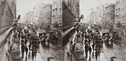Stereoscopic view of Broadway, New York City, United States, c 1860.