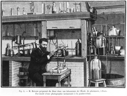 Henri Moisan, French chemist, working in his laboratory, c 1900s.