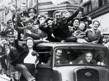 VE Day celebrations in the Strand, London, WWII, 8 May 1945.