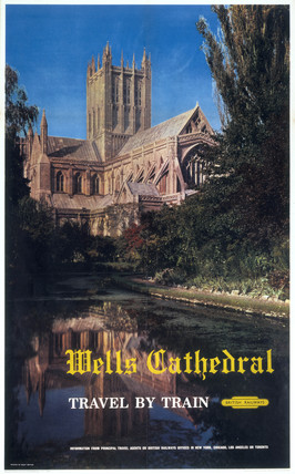 'Wells Cathedral - Travel by Train', BR  poster, 1961.