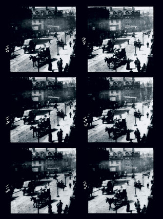 Frames from Le Prince's cine film of Leeds Bridge, West Yorkshire, c 1888.