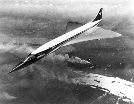 BOAC Concorde in flight over the River Thames, 1968.