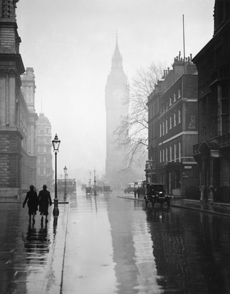 Shadow of Big Ben at Westminster, London, 2 April 1931.