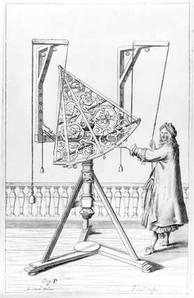 Bras sextant supported by ropes, c 1650. P