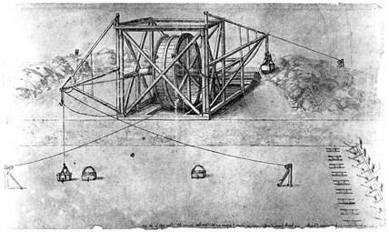 Page from a Leonardo da Vinci notebook, showing excavation of a canal.