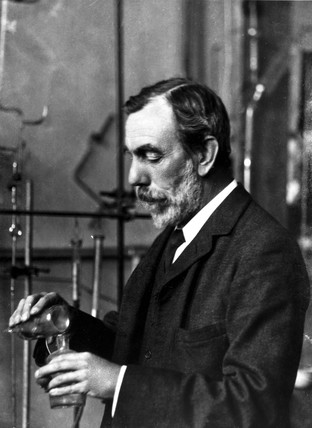 Sir William Ramsay during an experiment, c 1900.