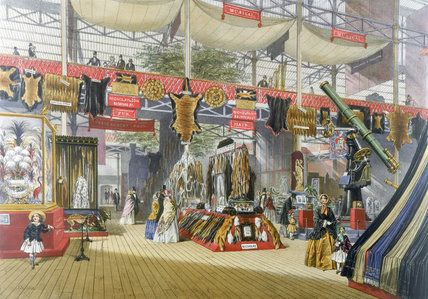 Stand showing furs at the Great Exhibition, Crystal Palace, London, 1851.