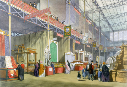 Area showing flax at the Great Exhibition, Crystal Palace, London, 1851.