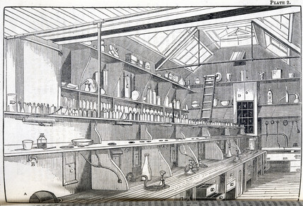 The laboratory of the Pharmaceutical Society, London, c 1845.
