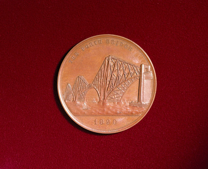 Medal celebrating the opening of the Forth Bridge, Scotland, 1890.