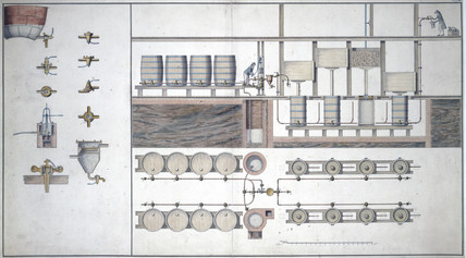 The production line in a brewery, late 18th century.