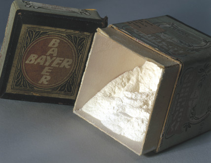 Soluble aspirin powder, c 1900.