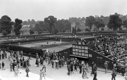 View of the courts at the Wimbledon, 1932.