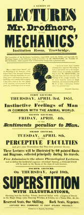 Advertisement for a series of lectures, 1851.