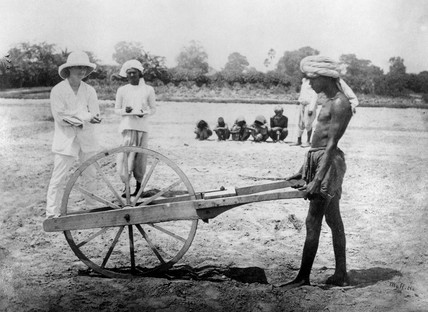 Measuring land for cultivation, Allahabad, India, 1877.