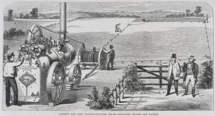 Garrett & Son's double-cylinder steam ploughing engine and tackle, 1862.