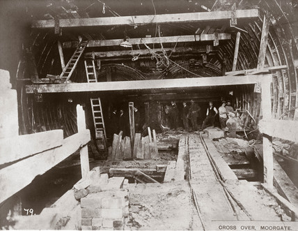 Construction of the crosover at Moorgate, London, c 1892-1911.