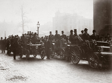 C S Rolls' car leading the inauguration of the Automobile Club, June 1897.