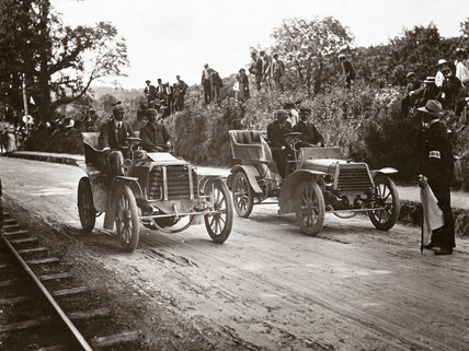 Race between C S Rolls and J E Hutton, York, 1903.