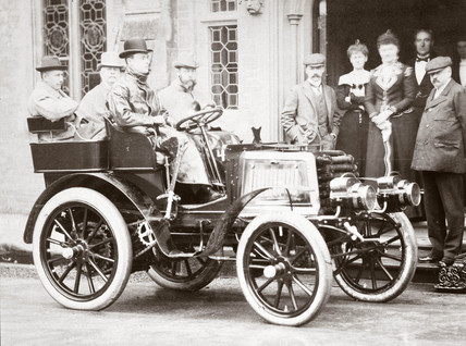 C S Rolls with the Prince of Wales and others in a 12 hp Panhard, 1900.