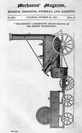 The 'Rocket' steam locomotive, October 1829.