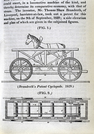Brandreth's horse-powered locomotive 'Cycloped', 1829.