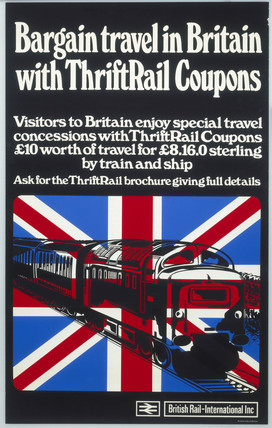 'Bargain travel in Britain with ThriftRail coupons', BR poster, 1970.