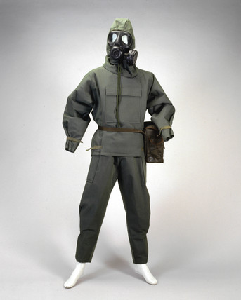 Nuclear, biological and chemical warfare oversuit, c 1980s.