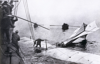 Hubert Latham's Antoinette monoplane downed in the English Channel, 1909.