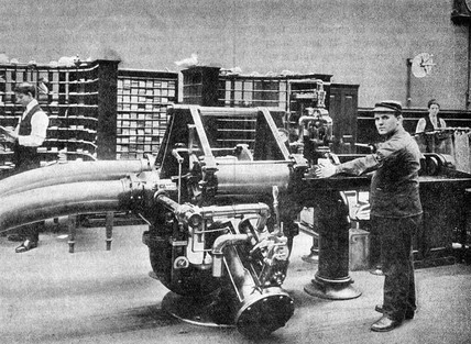 Pneumatic mail tube transmitter and receiver, Brooklyn, New York, c 1899.
