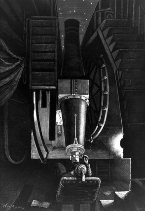 Night work at Greenwich Observatory, London, 1880.