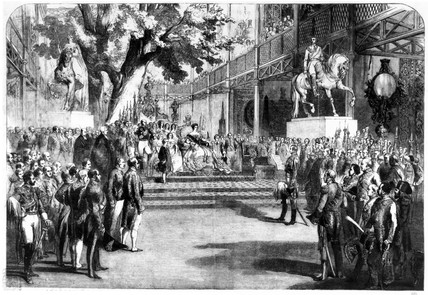 Queen Victoria opening the Great Exhibition, Hyde Park, 1851.