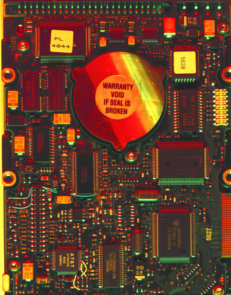 Circuitry of hard disk drive taken from a PC, 1998.